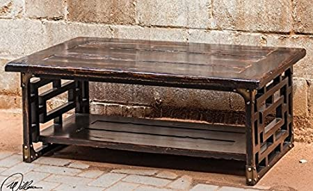"48"" Lattice Styled Rubbed Black Mahogony Wooden Coffee Table"