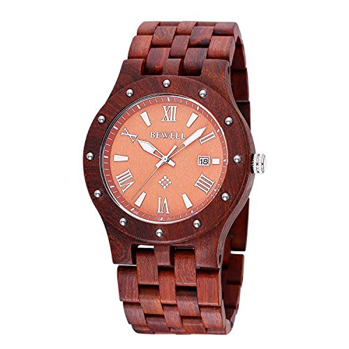 Greatwell Natural Men Red Sandal Wooden Watch Japanese Quartz Movement Date Calendar Wristwatches (Waltham Mens Watch compare prices)