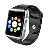 Bluetooth Smart Watch A1 - WJPILIS Touch Screen Smart Wrist Watch Smartwatch Phone with SIM Card Slot Camera Pedometer Sport Tracker for IOS iPhone Android Samsung LG for Men Women Child (Silver)