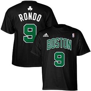 Boston Celtics Rajon Rondo Adidas Black T Shirt (Small)