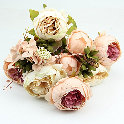 HeroNeo® 10 Head Bouquet Vintage Artificial Peony Silk Flower Room Wedding Floral Decor DIY (Beige+Pink)