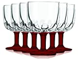 Libbey Red Goblet Glasses with Colored Accent - 10 oz. Set of 6- Additional Vibrant Colors Available by TableTop King