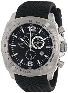 """Swiss Legend Men's """"Sprinter"""" Stainless Steel and Black Silicone Black Dial Watch"""