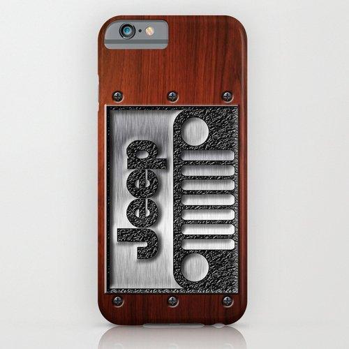 society6(ソサエティシックス) iPhone6(4.7インチ)ケースEmbossed Steel Jeep logo with wood background並行輸入品
