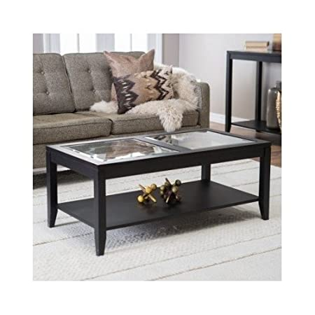 Glass Top Coffee Table with Quatrefoil Underlay That Will Complement Any Home Decor. This Black Wood and Glass Coffee Table Will Be A Great Addition To Any Living Room Furniture Set