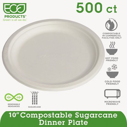 "Eco-Products - Compostable Sugarcane Dinnerware, 10"" Plate, Natural White, 500/Carton Epp005 (Dmi Ct"