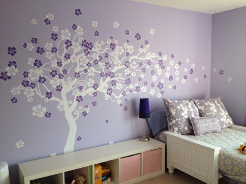Popdecors - Cherry Blossom Tree (83Inch H) - Custom Beautiful Tree Wall Decals For Kids Rooms Teen Girls Boys Wallpaper Murals Sticker Wall Stickers Nursery Decor Nursery Decals