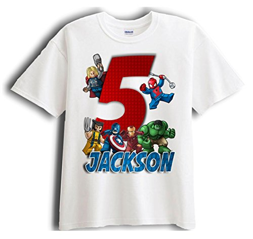 Lego Avengers Superheroes Personalized - Birthday T-Shirt Party Favor (Avengers Party Favours)