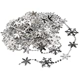 WeRChristmas 5 m Star Beaded Garland Tinsel Christmas Tree Decoration, Silver