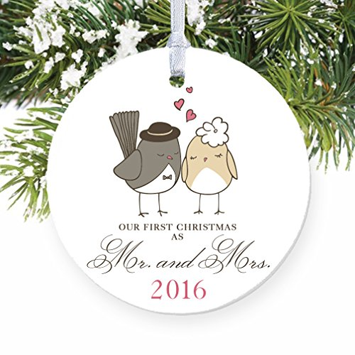 Love Birds Ornament 2016, Mr & Mrs Ornament, Wedding Gift Porcelain Ornament, 1st Married Christmas, 3