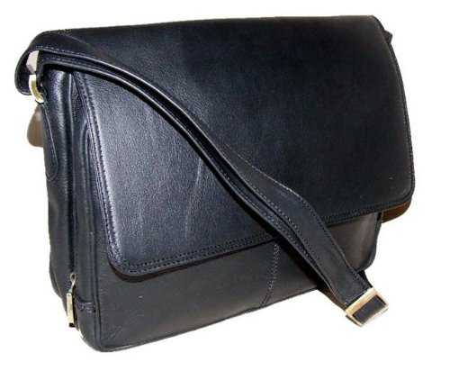 Large soft DD black leather multipocket organizer shoulder bag
