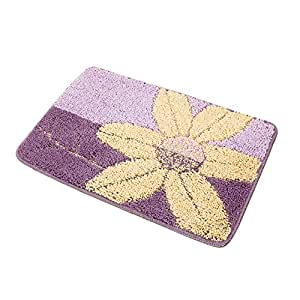 riverbyland purple bath rugs floral pattern