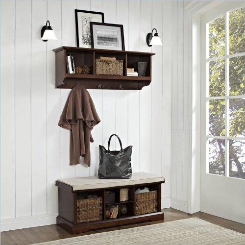 Brennan 2 Piece Entryway Bench and Shelf Set Mahogany