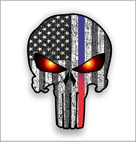 Red/Blue line Punisher with American Flag and Glowing Eyes sticker / decal **Free Shipping** (Fire Dept Window Decal compare prices)