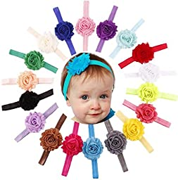 Qandsweet Baby Girl\'s Headbands with Shabby Model Flower