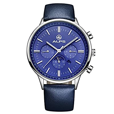 ALPS Mens Dress Watch Waterproof Day and Date Leather Watch for men