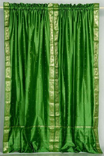 Forest Green 84-inch Rod Pocket Sheer Sari Curtain Panel (India) - Pair