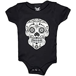 YoungPunks Baby Black White and Silver Sugar Skull Onesie