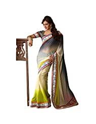 Fancy Magnetic Multi Colored Embroidered Faux Georgette Saree By Triveni