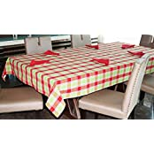 Lushomes Yarn Dyed Red And Green Checks 6 Seater Table Cloth & Napkins Set