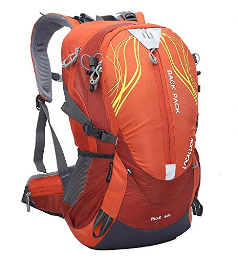 Zerd 40L Waterproof Nylon Mountaineering Camping Travel Backpack Trekking Bag Orange With Rain Cover front-68899