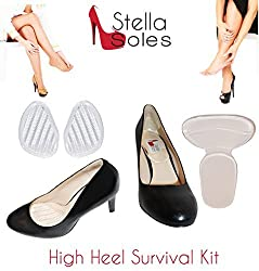 High Heel Survival Kit by StellaSoles Includes Adhesive Blister Blocking Protection for Heel & Anti-Slip Front Foot Gel Foot Pad (Clear Gel)