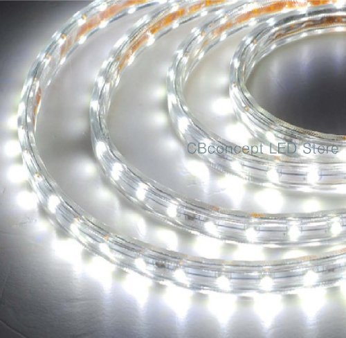 Cbconcept® 120Vsmd5050-2M-Cw 6.6 Feet Cool White 120 Volt High Output Led Smd5050 Flexible Flat Led Strip Rope Light - [Christmas Lighting, Indoor / Outdoor Rope Lighting, Ceiling Light, Kitchen Lighting] [Dimmable] [Ready To Use] [7/16 Inch Width X 5/16