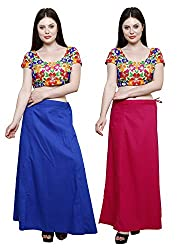 Pistaa combo of Women's Soft Cotton Ink Blue and Dark Pink Color Best Readymade Inskirt Saree petticoats