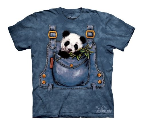 Panda In Overalls T-Shirt 100% Cotton Short Sleeve Shirt In Youth Sizes (Youth Large Age 10-12) front-612328