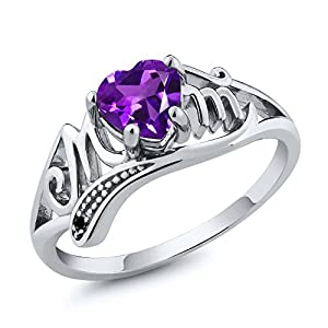 Sterling Silver Heart Shape Natural Amethyst and Black Diamond Mom Ring