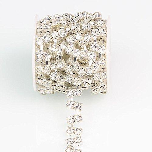 1 Yard Crystal Glass Rhinestone Silver Applique Chain Bridal Dress Costume Trim