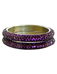 Pair Of Purple Stone Studded Bangles - Stone And Metal
