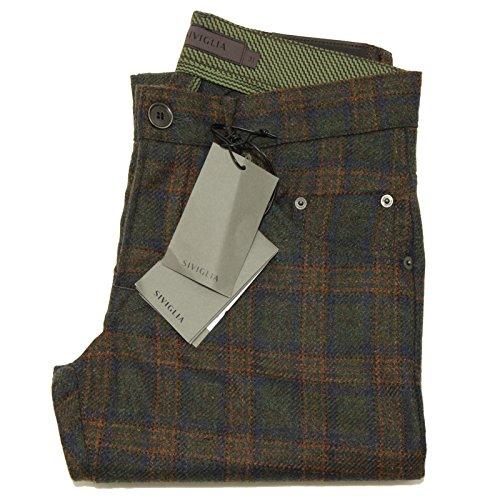 5534F pantaloni verdi SIVIGLIA LANA CACHEMIRE jeans uomo trousers men [33]