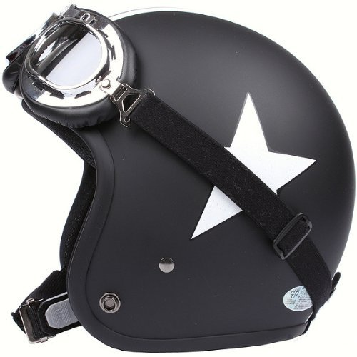 Motorcycle-HelmetTravellor-Helmet-with-Goggles-Retro-Vintage-Evo-Helmet-Sports-Street-Bike-Cruiser-Scooter-Snowmobile-Helmet-with-Pilot-Goggles