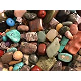 Variety Of Mix Gemstones 125 Grams Semi-Precious Stones, Size 4mm-25mm (Small to XL) Focal Pieces, Turquoise,Tiger Eye,