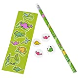 Dinosaur Stationary Activity Set Learning Resource Party Favor 12 Sets Of Pencils, Stickers, Erasers