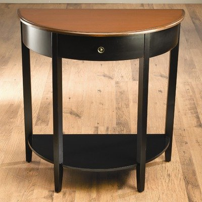 Cheap One Drawer Crescent Console Table in Distressed Black (49854-BK)