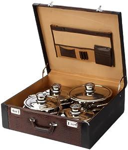 pradel excellence sc012 batterie de cuisine dans une magnifique valise 12 pi ces. Black Bedroom Furniture Sets. Home Design Ideas