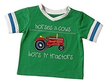 Wrangler Boys' Horses, Cow, and Tractors Shirt 6M-18M Green 18