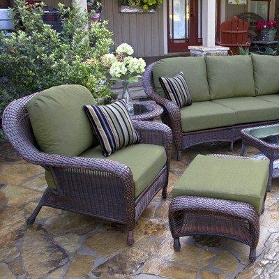 Lexington Chair and Ottoman Fabric Color: Rave Spearmint, Finish: Java