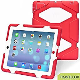 Ipad 2/3/4 Case, Kidspr Ipad Case *New* *Hot* Super Protect [Shockproof] [Rainproof] [Sandproof] with Built-in Screen Protector for Apple Ipad 2/3/4 (Red/White)