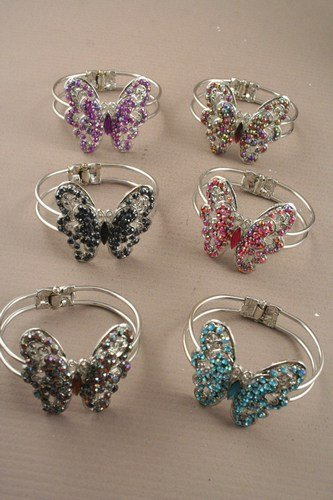 Purple Crystal Large Butterfly Bangle IN2928