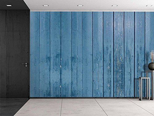 Wall26® - Blue Wooden Fence Panels - Wall Mural, Removable Sticker, Home Decor - 100x144 inches (Wooden Fence Panels compare prices)