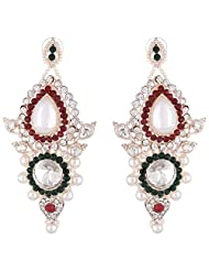 Bel-en-teno Red & Green Alloy Earring Set For Women