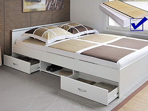 Jugendbett, Bett 140x200 cm weiss + Lattenrost + Matratze + Bettkasten Singlebett Kinderbett Leader 3.1