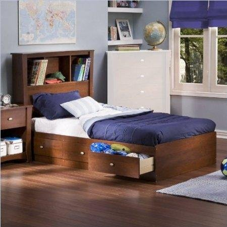 Cheap South Shore Mika Cherry Kids Twin Wood Bookcase Bed 3 Piece Bedroom Set (3268212-3PKG)