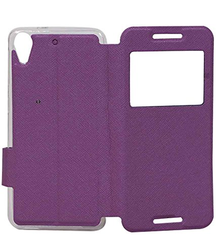 Purple Exclusive Caller ID Flip Case Cover For HTC Desire 626 / 626G Plus (626G+)