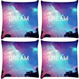 Snoogg Pack of 4 Dream Universe Digitally Printed Cushion Cover Pillows 16 x 16 Inch