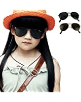 Voberry New Cool Fashion Mercury Ultraviolet-proof Goggles Metal Frame Sunglasses For Children Kids, Boy ,Girl, Baby (Black)