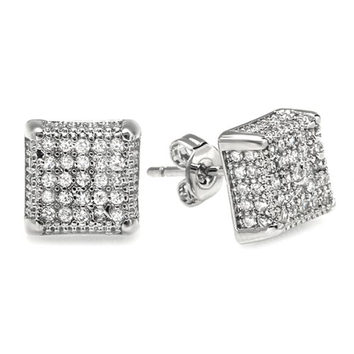 Platinum Plated Clear CZ Cubic Zirconia Cube Shaped Hip Hop Iced Cube Stud Earrings (8.5 mm x 8.5 mm )